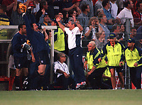 Kevin Keegan the England Manager celebrates victory as the final whistle is blown. England v Germany. Euro 2000. Chaleroi, Belgium 17/6/00. Credit: Colorsport.