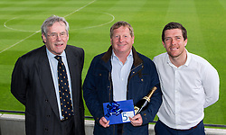 Bristol Rovers Manager Darrell Clarke and Chairman Steve Hamer with the winner of the fifth prize at the Sponsors Draw - Mandatory by-line: Robbie Stephenson/JMP - 15/04/2016 - FOOTBALL - The Memorial Ground - Bristol, England -  v  - Bristol Rovers Sponsor Draw
