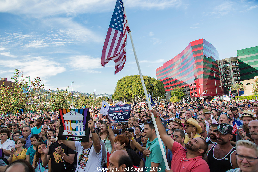 Thousands of residents from the City of West Hollywood turn out to celebrate the Marriage Equality Act that was found to be constitutional by the U.S. Supreme Court earlier in the day.