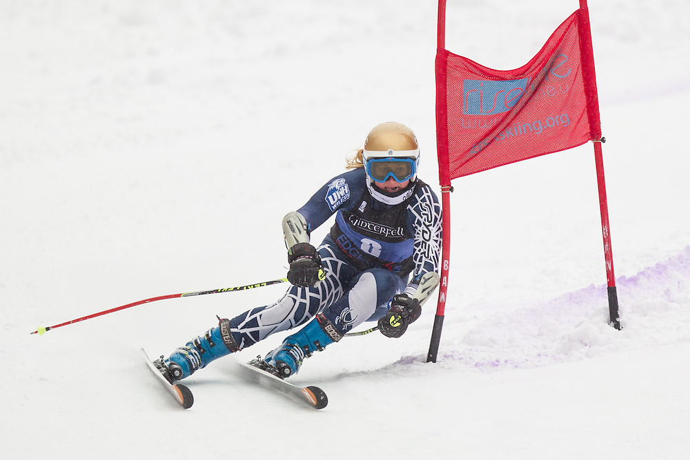 Morgan Klein of the University of New Hampshire, skis during the second run of the women's giant slalom at Jiminy Peak on February 15, 2014 in Hancock, MA. (Dustin Satloff/EISA)