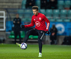 TALLINN, ESTONIA - Monday, October 11, 2021: Wales' Ethan Ampadu during the pre-match warm-up before the FIFA World Cup Qatar 2022 Qualifying Group E match between Estonia and Wales at the A. Le Coq Arena. Wales won 1-0. (Pic by David Rawcliffe/Propaganda)