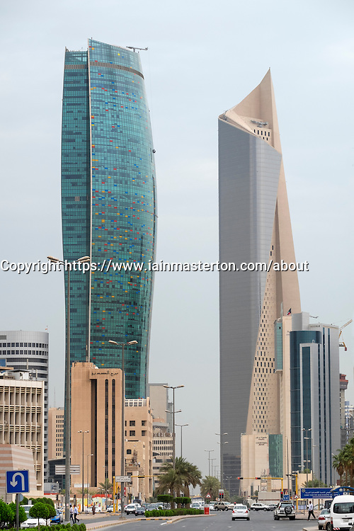 Modern skyscrapers (Kipco Tower on left and Al Hamra Tower) in Central Business District CBD of Kuwait City , Kuwait.