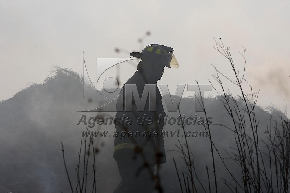 TOLUCA, Mexico.- Bomberos de Toluca tratan de controla un incendio en un terreno de 41 mil metros cuadrados de pastizales ubicado en la vialidad Alfredo del Mazo; la temporada de estiaje iniciara el proximo dia 15 de noviembre y concluye hasta el 15 de febrero del proximo año. Agencia MVT / Mario Vazquez de la Torre. (DIGITAL)