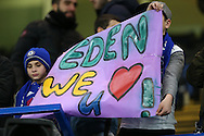 Chelsea fans hold up a banner saying 'Eden we love u!' before k/o. UEFA Champions league group G match, Chelsea v Porto at Stamford Bridge in London on Wednesday 9th December 2015.<br /> pic by John Patrick Fletcher, Andrew Orchard sports photography.
