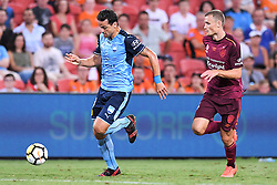 January 8, 2018 - Brisbane, QUEENSLAND, AUSTRALIA - Bobo of Sydney (9, left) dribbles the ball during the round fifteen Hyundai A-League match between the Brisbane Roar and Sydney FC at Suncorp Stadium on Monday, January 8, 2018 in Brisbane, Australia. (Credit Image: © Albert Perez via ZUMA Wire)