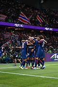 Layvin Kurzawa (psg) celebrated it goal scored from a decisive ball kicked by Neymar da Silva Santos Junior - Neymar Jr (PSG), celebration with Angel Di Maria (psg), Edinson Roberto Paulo Cavani Gomez (psg) (El Matador) (El Botija) (Florestan), Presnel Kimpembe (PSG), Javier Matias Pastore (psg), Adrien Rabiot (psg) during the French championship L1 football match between Paris Saint-Germain (PSG) and Toulouse Football Club, on August 20, 2017, at Parc des Princes, in Paris, France - Photo Stephane Allaman / ProSportsImages / DPPI