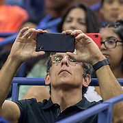 2019 US Open Tennis Tournament- Day Ten. Actor Ben Stiller taking pictures with his smart phone during the Rafael Nadal of Spain match against Diego Schwartzman of Argentina in the Men's Singles Quarter-Finals match on Arthur Ashe Stadium during the 2019 US Open Tennis Tournament at the USTA Billie Jean King National Tennis Center on September 4th, 2019 in Flushing, Queens, New York City.  (Photo by Tim Clayton/Corbis via Getty Images)