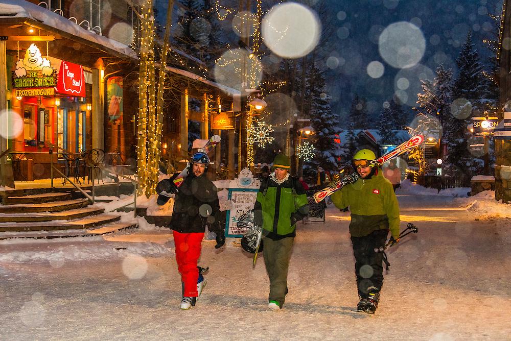 Snow falling in River Run Village during holidays, Keystone Resort, Colorado USA.