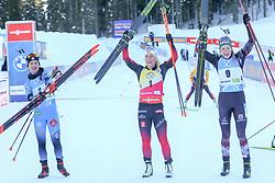 Anais Chevalier-Bouchet of France - Tiril Eckhoff of Norway - Lisa Theresa Hauser of Austria celebrate during the IBU World Championships Biathlon Women Pursuit competition on February 14, 2021 in Pokljuka, Slovenia. Photo by Primoz Lovric / Sportida