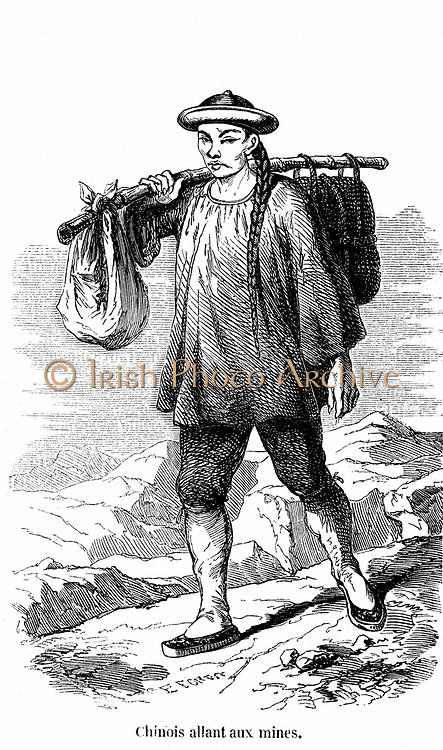 Chinese prospector in the Californian gold fields. Wood engraving, Paris, 1853.