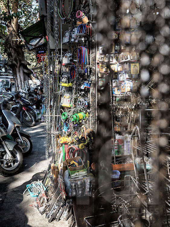Shop filled with hardware products along Thuoc Bac street known for hardware goods in Hanoi's Old Quarter, Vietnam, Southeast Asia