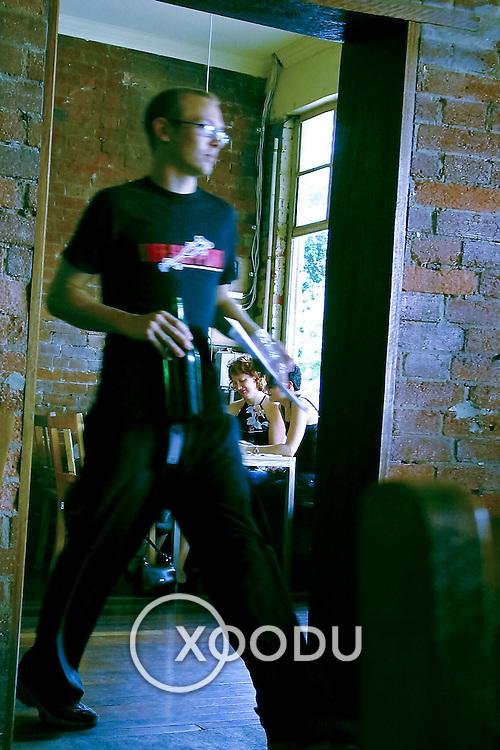 Waiter exits, Brisbane, Australia (February 2002)