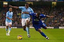 MANCHESTER, ENGLAND - Monday, February 25, 2008: Everton's Yakubu Ayegbeni and Manchester City's Nedum Onuoha during the Premiership match at the City of Manchester Stadium. (Photo by David Rawcliffe/Propaganda)