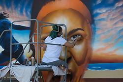 March 29, 2018 - Key Biscayne, Florida, United States - Graffiti artist Clara Leff, from Brazil, finishing her art mural at the Miami Open. Leff was commissioned by Bank Itau, the main sponsor of the tournament to produce an art piece for the public to enjoy  in Miami, on March 29, 2018. (Credit Image: © Manuel Mazzanti/NurPhoto via ZUMA Press)