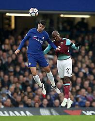 Chelsea's Alvaro Morata (left) and West Ham United's Angelo Ogbonna battle for the ball