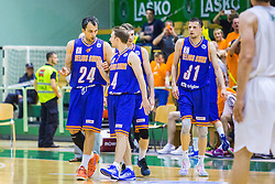 Zeljko Zagorac (C) of KK Helios Suns, Jure Mocnik of KK Helios Suns and Djordje Lelic of KK Helios Suns during basketball match between KK Zlatorog and KK Helios Suns in 1st match of Nova KBM Slovenian Champions League Final 2015/16 on May 29, 2016  in Dvorana Zlatorog, Lasko, Slovenia.  Photo by Ziga Zupan / Sportida