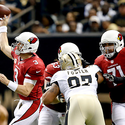 Sep 22, 2013; New Orleans, LA, USA; Arizona Cardinals quarterback Carson Palmer (3) against the New Orleans Saints during the first half of a game at Mercedes-Benz Superdome. The Saints defeated the Cardinals 31-7. Mandatory Credit: Derick E. Hingle-USA TODAY Sports