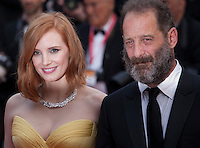 Actress Jessica Chastain and actor Vincent Lindon at the gala screening for Woody Allen's film Café Society and opening ceremony at the 69th Cannes Film Festival, Wednesday 11th May 2016, Cannes, France. Photography: Doreen Kennedy
