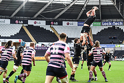 Ospreys' Rob McCusker claims the lineout<br /> <br /> Photographer Craig Thomas/Replay Images<br /> <br /> Guinness PRO14 Round 13 - Ospreys v Cardiff Blues - Saturday 6th January 2018 - Liberty Stadium - Swansea<br /> <br /> World Copyright © Replay Images . All rights reserved. info@replayimages.co.uk - http://replayimages.co.uk