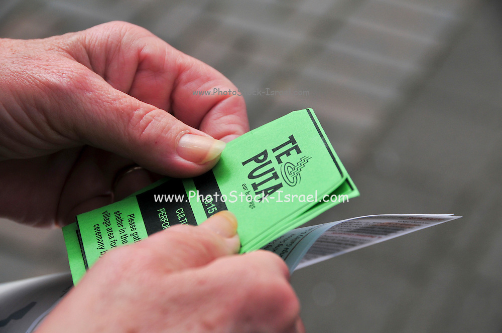 New Zealand, North Island, Rotorua, The Te Puia Geothermal Cultural Experience, Hans holds entrance tickets