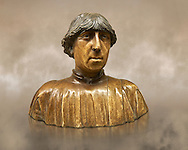 """Painted marble bust of Ferdinand of Aragon, King of Naples (1423-1494) from the """"Porta Salvatore"""" Sulmona, Italy. Variously  attributed to Pietro do Milano (around 1435-1473) Francesco Laurana (circa 1430-1502) and Domenico Gagini (quote from 1448-492).  Inv RF 745, The Louvre Museum, Paris. .<br /> <br /> If you prefer you can also buy from our ALAMY PHOTO LIBRARY  Collection visit : https://www.alamy.com/portfolio/paul-williams-funkystock/gothic-art-antiquities.html  Type -   louvre     - into the LOWER SEARCH WITHIN GALLERY box. Refine search by adding background colour, place, museum etc<br /> <br /> Visit our MEDIEVAL ART PHOTO COLLECTIONS for more   photos  to download or buy as prints https://funkystock.photoshelter.com/gallery-collection/Medieval-Gothic-Art-Antiquities-Historic-Sites-Pictures-Images-of/C0000gZ8POl_DCqE"""