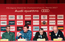 05.02.2017, St. Moritz, SUI, FIS Weltmeisterschaften Ski Alpin, St. Moritz 2017, Eröffnungs Pressekonferenz LOC, im Bild v.l. Roland Mägerle (Host Broadcasting SRG/SSR), Dr. Urs Lehmann (Präsident Swiss Ski), Gian Franco Kasper (FIS Präsident), Dr. Urs Lehmann (Präsident Swiss Ski), Hugo Wetzel (Präsident OK St. Moritz) // f.l. Roland Maegerle (Host Broadcasting SRG/SSR) Dr. Urs Lehmann (President of Swiss Ski) Gian Franco Kasper president of the International Ski Federation Dr. Urs Lehmann (Präsident Swiss Ski) Hugo Wetzel (President of OK St. Moritz) during a press conference of LOC prior to the FIS Ski World Championships 2017. St. Moritz, Switzerland on 2017/02/05. EXPA Pictures © 2017, PhotoCredit: EXPA/ Johann Groder