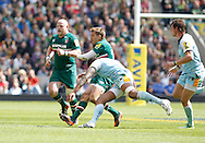 Picture by Andrew Tobin/Focus Images Ltd +44 7710 761829.25/05/2013. Toby Flood (C) of Leicester is tackled late by Courtney LAWES of Northampton leaving Flood down and injured during the Aviva Premiership match at Twickenham Stadium, Twickenham.