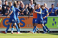 AFC Wimbledon midfielder Scott Wagstaff (7) celebrating after scoring goal to make it 1-0 during the EFL Sky Bet League 1 match between AFC Wimbledon and Oxford United at the Cherry Red Records Stadium, Kingston, England on 29 September 2018.