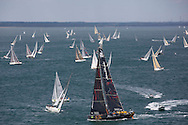 The 2013 Rolex Fastnet race start. <br /> <br /> Pictures off the Abu Dhabi Volvo70 skippered by Ian Walker. Shown here as they race down the Solent and past the Needles <br /> <br /> Credit: Lloyd Images