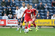 Joe Ralls of Cardiff City passes the ball back. Skybet football league championship match, Preston North End v Cardiff City at the Deepdale stadium in Preston, Lancashire on Saturday 17th October 2105.<br /> pic by Chris Stading, Andrew Orchard sports photography.