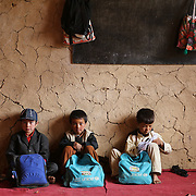 Kids sit in one of the classrooms of a rural school inWaras District, Bamyan Province where Medair is working to build latrines and a spring. Hygiene messages are also taught here.