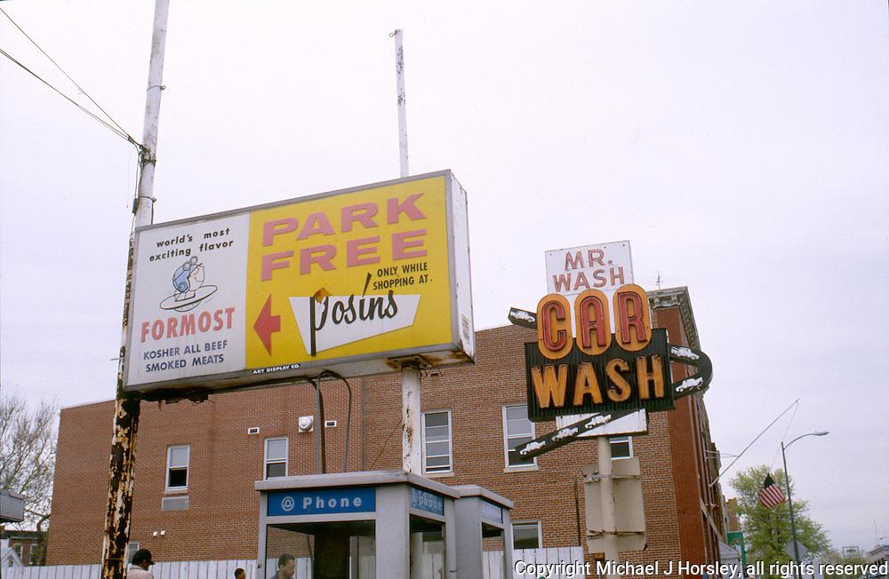 Posin's Deli and Mr. Wash Car Wash Georgia Avenue NW, Washington DC, 1988