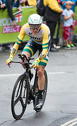 © Licensed to London News Pictures. 10/09/2016. Bristol, UK. The Tour of Britain cycle race 2016. Picture of ROHAN DENNIS  on his way to second place in Saturday morning's time trial, and now second overall behind Steve Cummings. Photo credit : Simon Chapman/LNP