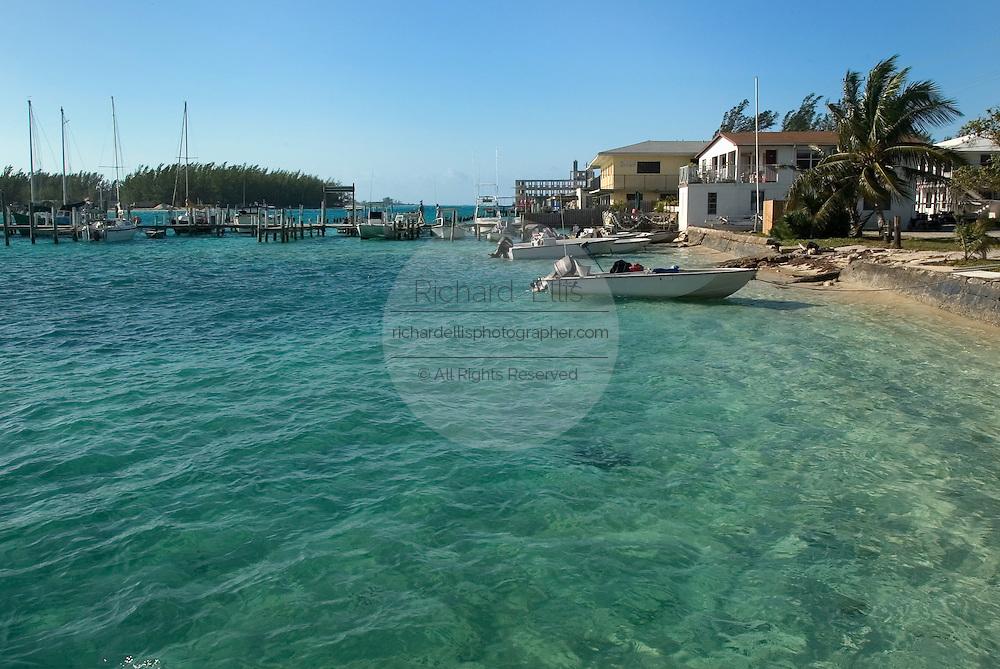 Bimini harbor along the King's Highway in Alice Town on the tiny Caribbean island of Bimini, Bahamas