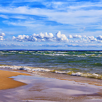 """""""The Clouds Go Marching"""" 2<br /> <br /> Wonderful puffy low clouds and wispy high clouds grace the blue sky over scenic Lake Michigan's vast shoreline!!<br /> <br /> The Great Lakes by Rachel Cohen"""
