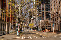 First Avenue of downtown Seattle is vacant. (April 4, 2020).
