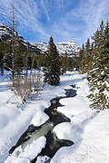 Soda Butte Creek and Baronet Peak during winter in Yellowstone National Park