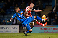 Gillingham FC defender Max Ehmer (5) and Fleetwood Town forward Paddy Madden (17)  during the EFL Sky Bet League 1 match between Gillingham and Fleetwood Town at the MEMS Priestfield Stadium, Gillingham, England on 3 November 2018.<br /> Photo Martin Cole