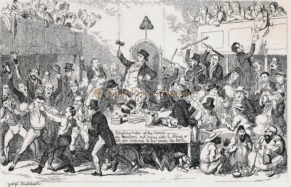 The Charter - a Common Scene': The Anti-Chartist idea of the House of Commons in 1943 if suffrage was enlarged. Cap of Liberty is attached to  Speaker's chair. 1843 cartoon by George Cruikshank. Chartism, a movement for social and political reform took its name from The People's Charter of 1838.
