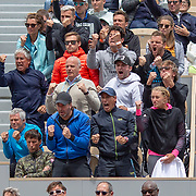 PARIS, FRANCE June 08.  Kiki Mladenovic, girlfriend of Dominic Thiem of Austria and his team celebrate a break in the fifth set against Novak Djokovic of Serbia on Court Philippe-Chatrier during the Men's Singles Semifinals match at the 2019 French Open Tennis Tournament at Roland Garros on June 8th 2019 in Paris, France. (Photo by Tim Clayton/Corbis via Getty Images)