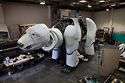 Aurora alone in the workshop at Factory Settings. Aurora is a giant polar bear puppet, the size of a London double decker bus. The bear is the brain child of Greenpeace UK and it will be the center piece in the Greenpeace campaign Save the Arctic  global day of action in London Sept 15th. Aurora is designed by Christopher Kelly in collaboration with props designer Simon Costin and made by Factory Settings in East London.