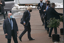 Livingston, Scotland, UK. 28 January 2020. Prime Minister Boris Johnson arrives at Valneva vaccine production plant in Livingston on his visit to Scotland. The plant has commenced production of vaccines today. Iain Masterton/Alamy Live News