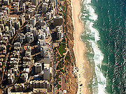 aerial photography of Natanya, Israel as seen from north including buildings and coast line