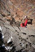 on Rocksprings Butress in the southern part of the Teton Range.Brenton Reagan, Rocksprings Buttress, Jackson, Wyoming<br /> David Stubbs / www.davidstubbs.com