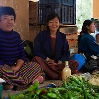 Asia, Bhutan, Trongsa. Local market women at Trongsa.