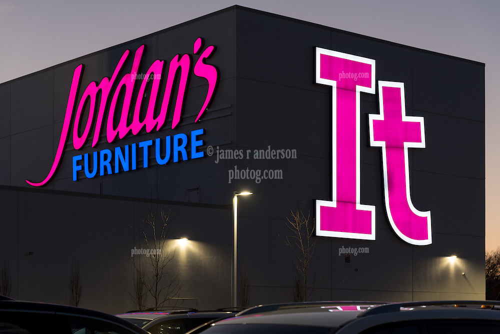 Jordan's Furniture Rear IT Area of Building Signage, New Haven CT. James R Anderson Photography