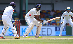 August 4, 2017 - Colombo, Sri Lanka - Indian cricketer Ravichandran Ashwin(L) is bowled out as Sri Lankan wicket keeper Niroshan Dickwella(L) looks on during the 2nd Day's play in the 2nd Test match between Sri Lanka and India at the SSC international cricket stadium at the capital city of Colombo, Sri Lanka on Friday 04 August 2017. (Credit Image: © Tharaka Basnayaka/NurPhoto via ZUMA Press)