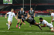 Dan Evans of the Ospreys © dives over to score an Ospreys try in the 2nd half.  European Rugby Champions Cup, pool 2 match, Ospreys v ASM Clermont Auvergne at the Liberty Stadium in Swansea, South Wales on Sunday 15th October 2017.<br /> pic by  Andrew Orchard, Andrew Orchard sports photography.