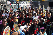 Atmosphere at the Nike Youth Tennis  Challenge held at The Nike -Built regulation Tennis Court  on West 23rd Street & Broadway in New York  City . ..Hundreds of tennis fans and youth form New York  Parks and Rec. Athlethes for Charity, and Mentoring USA are treating to tips and guidance from Tennis Pros Roger Federer, Rafael Nadal and Serena Williams...