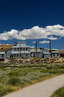 Bodie Ghost Town Gold Mine Panorama. Three of seven portrait images taken with a Nikon D3s camera and 50 mm f/1.4G lens (ISO 800, 50 mm, f/16, 1/200 sec). Raw images processed with DxO and the panorama created using AutoPano Giga Pro.